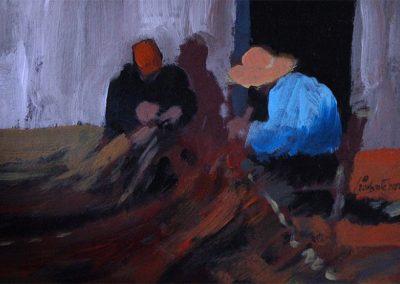 1980 Pescadors cusint xarxes#01-19x11 cm - acrylic canvas