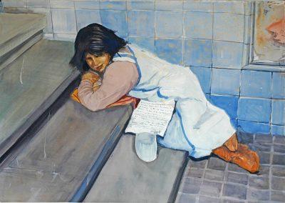 1981 Niña pidiendo escaleras del metro-97x67,5 cm - wathercolor on paper