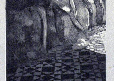 1984 Chica espaldas cama-17,5x27cm-etching