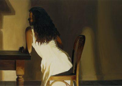 1995 Lourdes en la mesa-81x40 cm - acrylic on wood