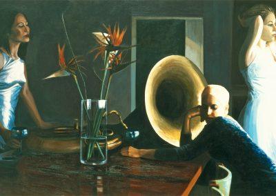2001 Tuba in the table-162x97 cm - acrylic on canvas